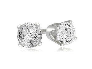 0.25 cttw. Round Cut Diamond 4-Prong Stud Earrings in 18K White Gold (VS2, G-H)