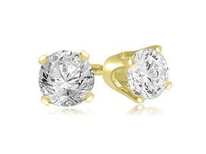 0.25 cttw. Round Cut Diamond 4-Prong Stud Earrings in 18K Yellow Gold (VS2, G-H)