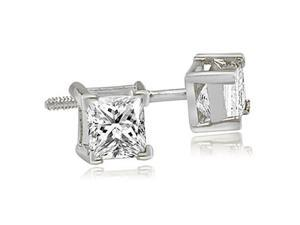 0.25 cttw. Princess Cut Diamond V-Prong Heavy Stud Earrings in Platinum (SI2, H-I)