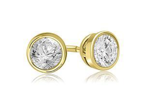 0.25 cttw. Round Cut Diamond Bezel Stud Earrings in 14K Yellow Gold (VS2, G-H)