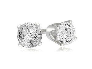 0.35 cttw. Round Cut Diamond 4-Prong Stud Earrings in Platinum (SI2, H-I)