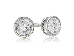 0.25 cttw. Round Cut Diamond Bezel Stud Earrings in 18K White Gold (VS2, G-H)