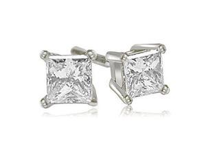 2.00 cttw. Princess Cut Diamond 4-Prong Basket Stud Earrings in 18K White Gold (VS2, G-H)
