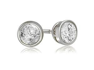 2.00 cttw. Round Cut Diamond Bezel Stud Earrings in 14K White Gold (VS2, G-H)