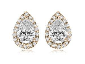 1.25 cttw. Halo Pear And Round Shape Diamond Earrings in 14K Rose Gold (SI2, H-I)