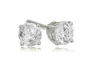 0.25 cttw. Round Cut Diamond 4-Prong Basket Stud Earrings in 18K White Gold (VS2, G-H)