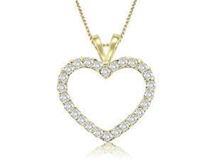 0.50 cttw. Classic Heart Shape Diamond Pendant in 14K Yellow Gold (VS2, G-H)