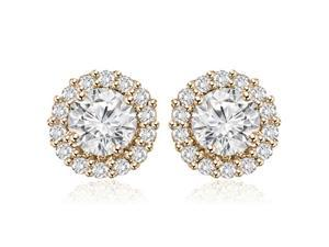 1.25 cttw. Round Cut Halo Diamond Earrings in 14K Rose Gold