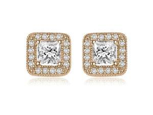 1.35 cttw. Princess And Round Cut Halo Diamond Earrings in 14K Rose Gold (VS2, G-H)