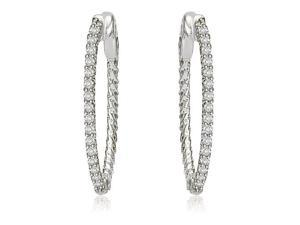 0.75 cttw. Round Cut Diamond Hoop Earrings in 14K White Gold