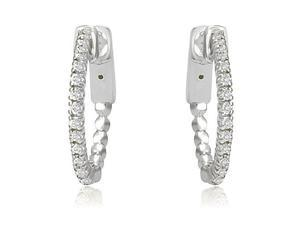 0.30 cttw. Round Cut Diamond Hoop Earrings in 18K White Gold (VS2, G-H)