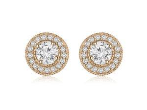 1.35 cttw. Halo Round Cut Diamond Earrings in 14K Rose Gold (SI2, H-I)