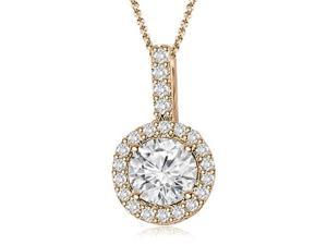 0.65 cttw. Halo Round Diamond Pendant in 14K Rose Gold (VS2, G-H)