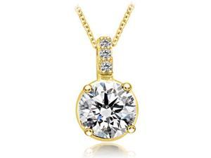 0.28 cttw. Round Cut Diamond 4-Prong Basket Solitaire Pendant in 18K Yellow Gold (SI2, H-I)