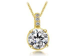 0.78 cttw. Round Cut Diamond 4-Prong Basket Solitaire Pendant in 14K Yellow Gold (SI2, H-I)