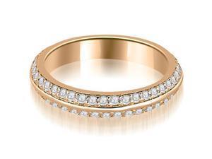 0.40 cttw. Knife Edge Round Cut Diamond Wedding Band in 14K Rose Gold (VS2, G-H)