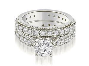 1.85 cttw. Cathedral Round Cut Eternity Diamond Bridal Set in Platinum (VS2, G-H)