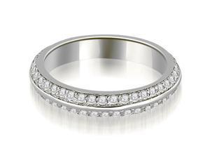 0.40 cttw. Knife Edge Round Cut Diamond Wedding Band in 14K White Gold (VS2, G-H)