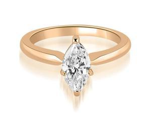 0.50 cttw. Classic Solitaire Marquise Diamond Engagement Ring in 14K Rose Gold (VS2, G-H)