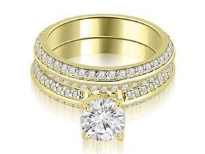 1.70 cttw. Knife Edge Matching Round Cut Diamond Bridal Set in 14K Yellow Gold (VS2, G-H)