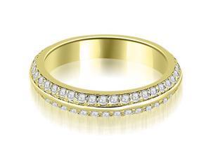 0.40 cttw. Knife Edge Round Cut Diamond Wedding Band in 14K Yellow Gold (VS2, G-H)