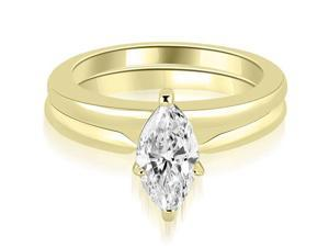 1.00 cttw. Classic Solitaire Marquise Cut Diamond Bridal Set in 18K Yellow Gold (VS2, G-H)