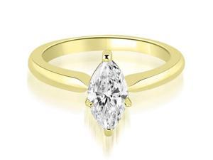 1.00 cttw. Classic Solitaire Marquise Cut Diamond Engagement Ring in 18K Yellow Gold