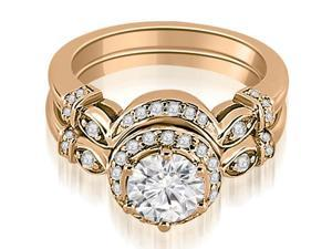 0.72 cttw. Antique Round Cut Diamond Engagement Set in 14K Rose Gold