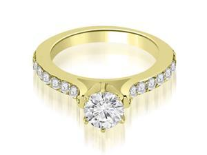 0.90 cttw. Cathedral Round Cut Diamond Engagement Ring in 18K Yellow Gold