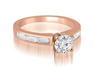 1.10 cttw. Elegant Round Baguette Cut Diamond Engagement Ring in 18K Rose Gold