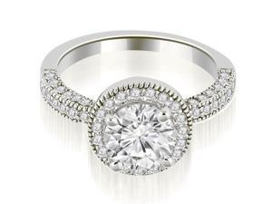 1.35 cttw. Halo Round Cut Diamond Engagement Ring in Platinum (SI2, H-I)
