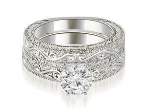 0.35 cttw. Antique Round Cut Diamond Bridal Set in Platinum