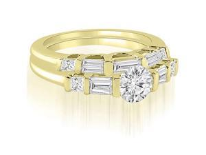 1.65 cttw. Round And Baguette Cut U-Bar Diamond Bridal Set in 18K Yellow Gold