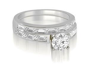 2.45 cttw. Elegant Round And Baguette Cut Diamond Bridal Set in 18K White Gold