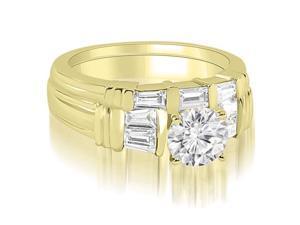 1.30 cttw. Antique Round Cut Baguette Diamond Bridal Set in 18K Yellow Gold