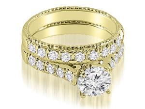 1.45 cttw. Vintage Cathedral Round Cut Diamond Bridal Set in 18K Yellow Gold