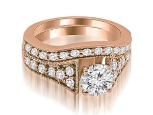 1.50 cttw. Vintage Cathedral Round Cut Diamond Bridal Set in 18K Rose Gold (VS2, G-H)