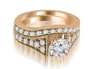 2.00 cttw. Vintage Cathedral Round Cut Diamond Bridal Set in 14K Rose Gold (SI2, H-I)