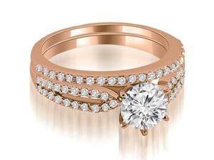 1.22 cttw. Cathedral Split Shank Round Diamond Bridal Set in 18K Rose Gold