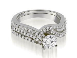 0.88 cttw. Twisted Split Shank Round Cut Diamond Bridal Set in 14K White Gold (VS2, G-H)