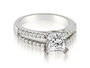 1.21 cttw. Princess Split Shank Diamond Engagement Ring in Platinum (SI2, H-I)