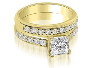 1.10 cttw. Cathedral Princess Cut Diamond Bridal Set in 14K Yellow Gold
