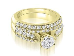 1.70 cttw. Antique Cathedral Round Cut Diamond Bridal Set in 18K Yellow Gold