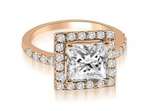 1.30 cttw. Princess and Round cut Halo Diamond Engagement Ring in 14K Rose Gold (VS2, G-H)