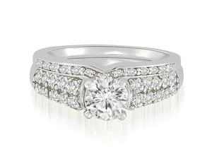 1.55 cttw. Cathedral Style Round Cut Diamond Bridal Set in 18K White Gold (SI2, H-I)