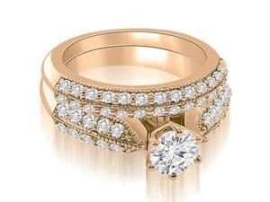 1.55 cttw. Antique Cathedral Round Cut Diamond Bridal Set in 14K Rose Gold (SI2, H-I)