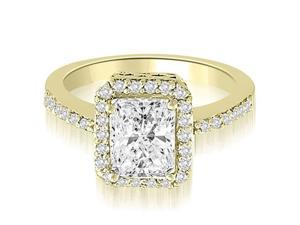 1.25 cttw. Halo Emerald And Round Diamond Engagement Ring in 18K Yellow Gold