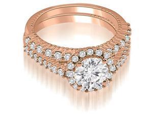 1.47 cttw. Antique Halo Round Cut Diamond Bridal Set in 18K Rose Gold (SI2, H-I)
