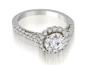 0.95 cttw. Antique Style Halo Round Cut Diamond Engagement Ring in 14K White Gold