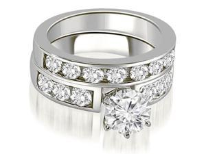 2.25 cttw. Classic Channel Set Round Cut Diamond Bridal Set in 14K White Gold (SI2, H-I)